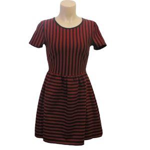 Forever 21 Strip black red mini doll dress Small